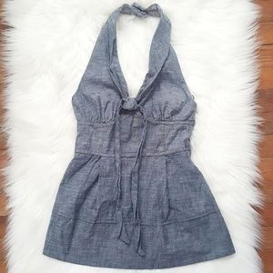 Anthropologie Tops - fei Anthropologie chambray halter top size small